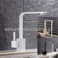 黑色白色厨房龙头水槽洗菜盆台上盆冷热混水龙头四方扁管旋转出水