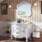 欧式仿古浴室柜组合美式彩绘卫浴柜落地实木卫生间洗手台盆柜洁具